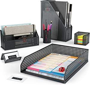Arteza Desk Organizer Accessories Set in Black, 6-Piece Includes Pencil Cup Holder, Letter Sorter, Letter Tray, Magazine Holder, Name Card Holder, Sticky Note Holder for Home or Office