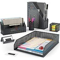 Arteza Desk Organizer Accessories Set in Black, 6-Piece Includes Pencil Cup Holder, Letter Sorter, Letter Tray, Magazine…