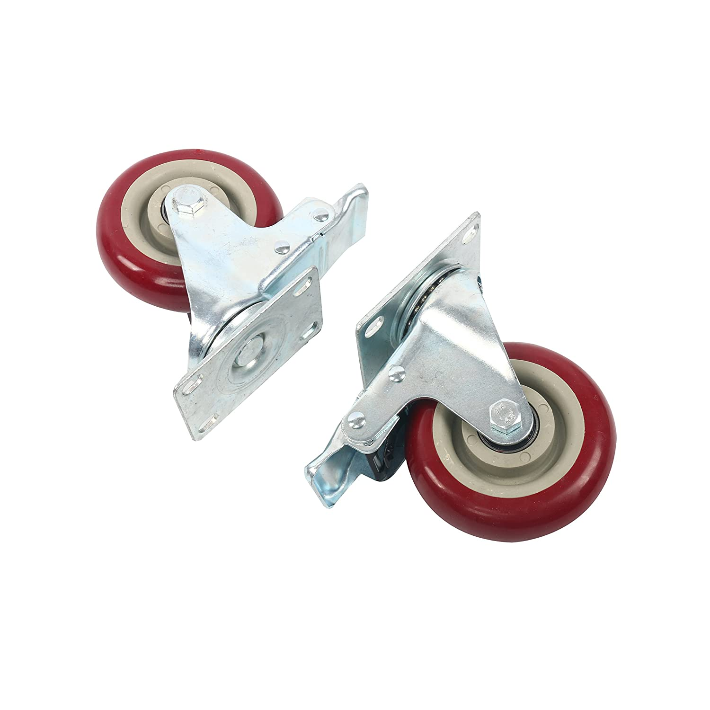 YaeTek 4 Pack Caster Wheels Swivel Plate Stem Break Casters Roller 3 Inch for sale online