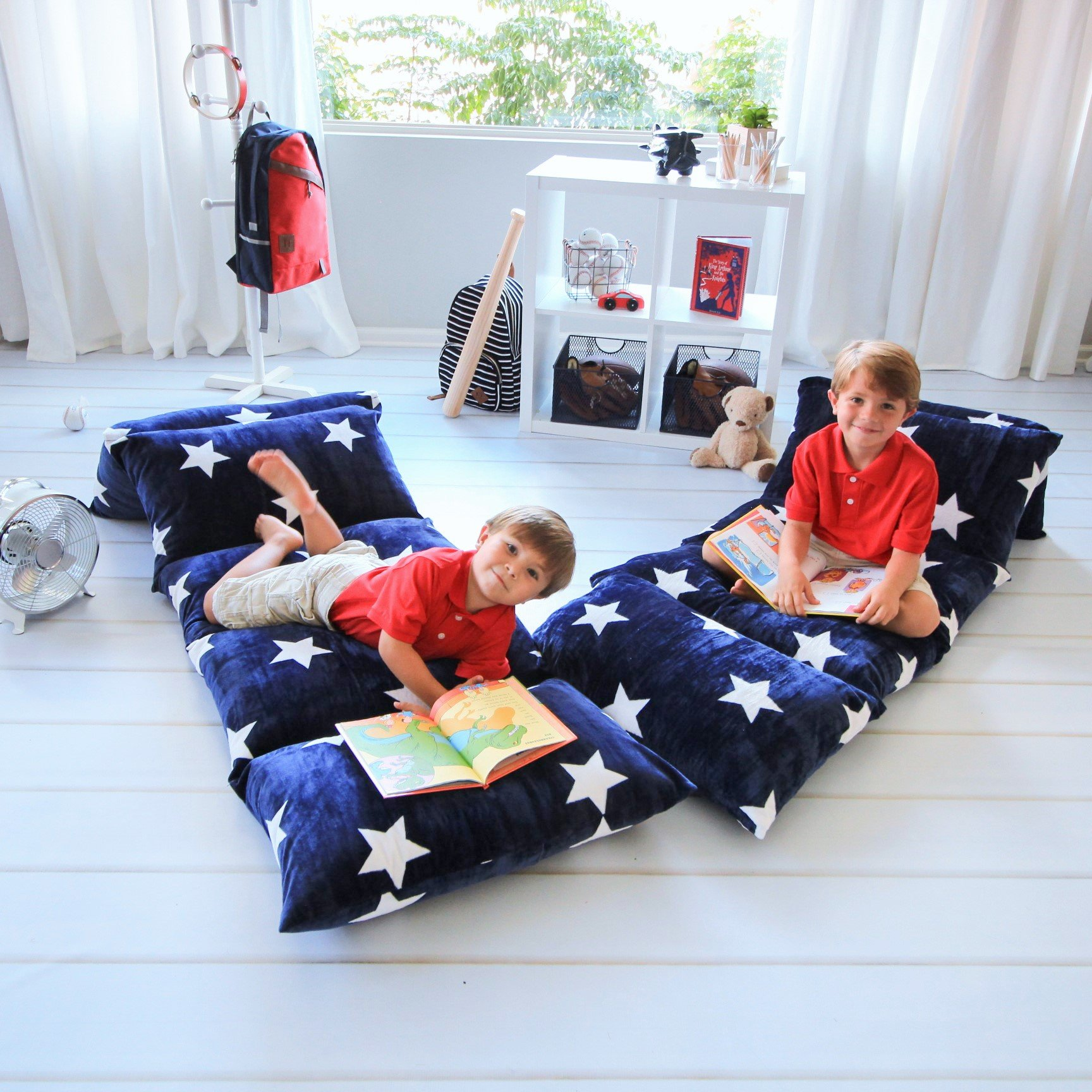 Butterfly Craze Kids Floor Pillow Fold Out Lounger Fabric Cover for Bed and Game Rooms, Reading, Beanbag, Ottoman, Recliner, Chair, Couch Alternative. Blue. Queen Pillows Not Included by Butterfly Craze (Image #7)