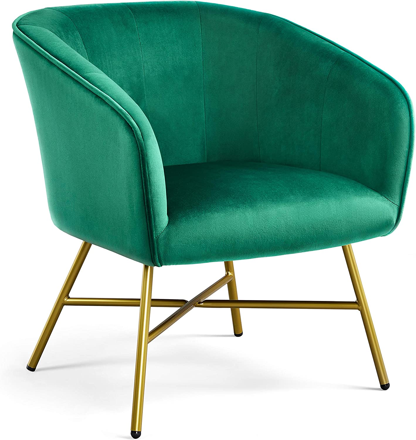 YAHEETECH Accent Chair Armchair Living Room Chair Upholstered Barrel Chair Velvet Comfy Lounge Chair Sofa Side Chair for Living Room Bedroom Dining Room Office Green