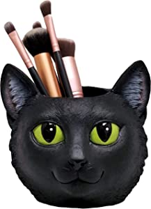 World of Wonders - Meow & Forever Series - Midnight's Magic - Lucky Black Kitty Cat Pen Pencil Supply Holder Makeup Brush Tool Caddy Planter Desk Storage Organizer Home Decor Office Accent, 5-inch