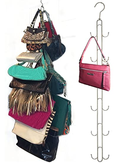 Boottique 2 Pk Over Door Hanging Purse Storage   Durable, Holds 50 Pounds, Rotates 360 For Easy Access; Purses, Handbags, Satchels, Crossovers, Backpacks,12 Hooks, Chrome (Set Of 2) by Boottique
