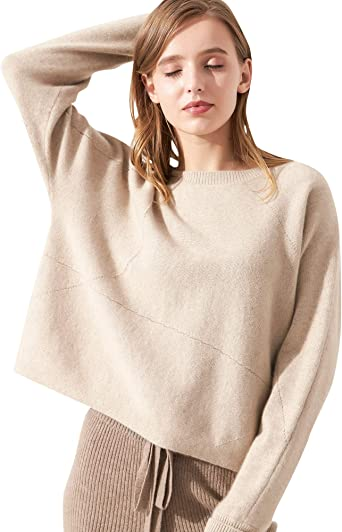 Chesslyre Pure Cashmere Sweater Women Relaxed Fit Crew Neck