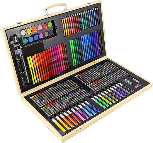 Maletín de pinturas para niños y adultos; incluye lápices de colores, ceras, rotuladores y pinturas al óleo, 56pc Art Set: Amazon.es: Hogar