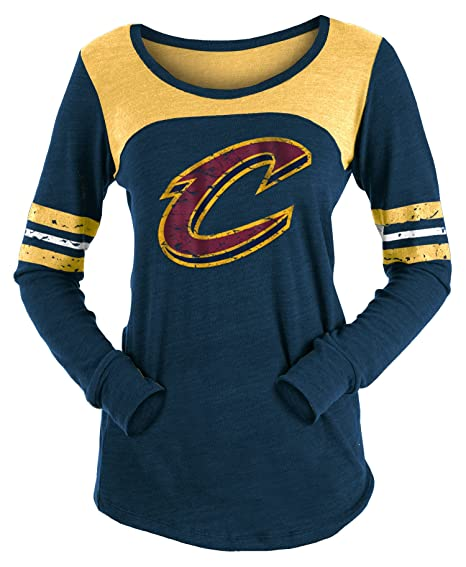 5d7220039bc ... france new era cleveland cavaliers womens long sleeve tri blend striped t  shirt x ce00a 7ffe4