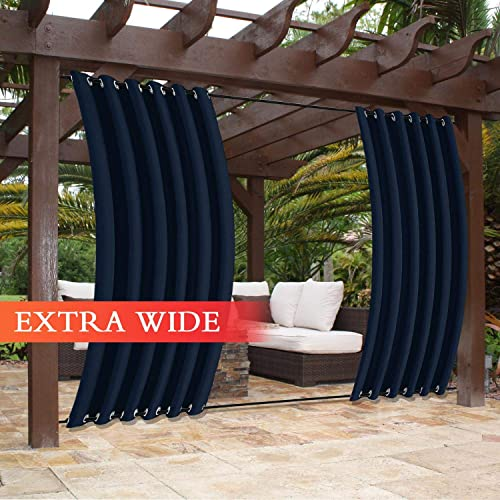 Frelement Outdoor Curtains Panels Rustproof Grommet Weighted 120W x 102L Inch Privacy Protection No Fade Exterior Extra Wide Drapes for Gazebo Pavilion, Navy,1 Panel