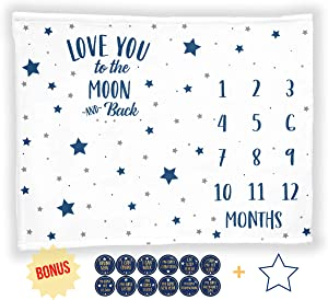"Baby Monthly Milestone Blanket with 12 Stickers, Large 50""x40"" Months Boy Newborn Photography Background Photo Prop, Stars Moon Nursery, I Love You to The Moon and Back, Baby Shower (50""x40"", Minky)"