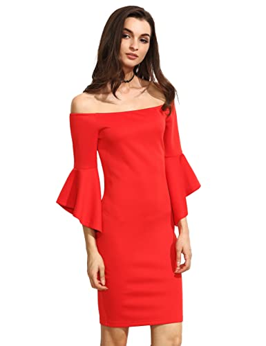 Floerns Women's Off Shoulder Bell Sleeve Bodycon Cocktail Party Dress