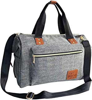 NICO Stylish Unisex Baby Changing Bag, Large Nappy Diaper Bag, Essentials Organiser, Insulated Pockets, for Parents or Professionals (Gray/Grey Colour with high Quality PU Brown Leather Trims)