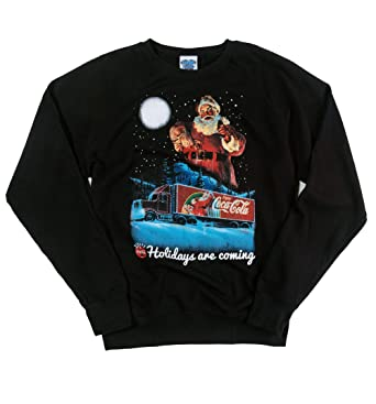 52a452c47a9476 TruffleShuffle Mens Coca Cola Holidays are Coming Lightweight Christmas  Jumper Black/Charcoal: Amazon.co.uk: Clothing
