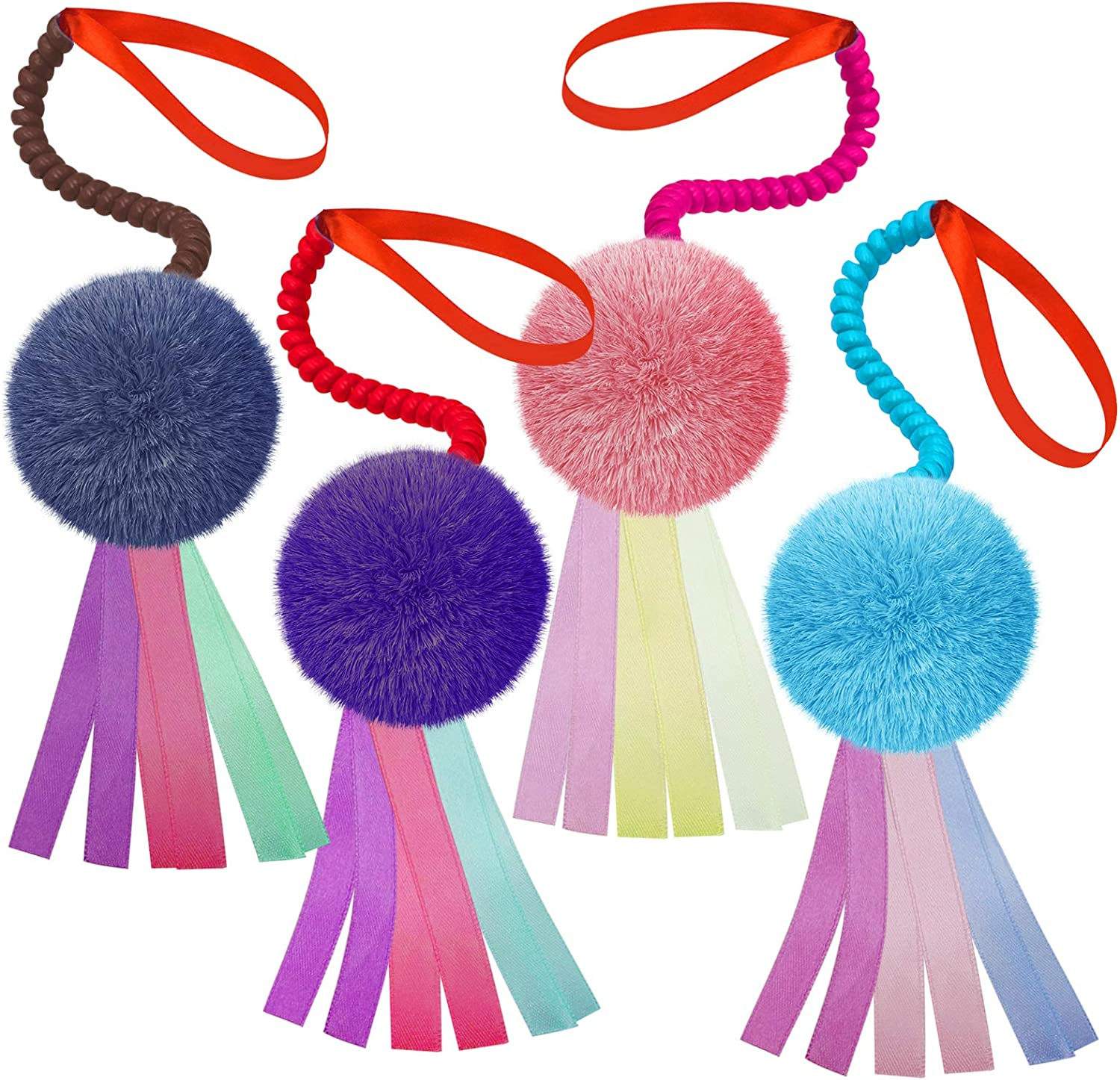 Lepawit 4Pcs Cat Interactive Toys Colorful Furry Balls Sounable with Ribbon and Elastic Coil Spiral Springs Chasing Toys for Indoor Feline Kitten Door Hanging Cats Teaser Toys