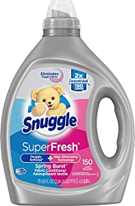 Snuggle Liquid Fabric Softener, SuperFresh Spring Burst, Eliminates Tough Odors, 150 Loads