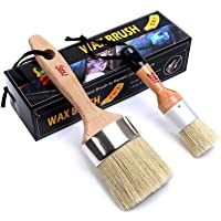 Chalk Paint & Wax Brush (Pack of 2) Natural Bristles Handmade Round Boar Painting or Waxing Furniture - Sidewalk Chalk…