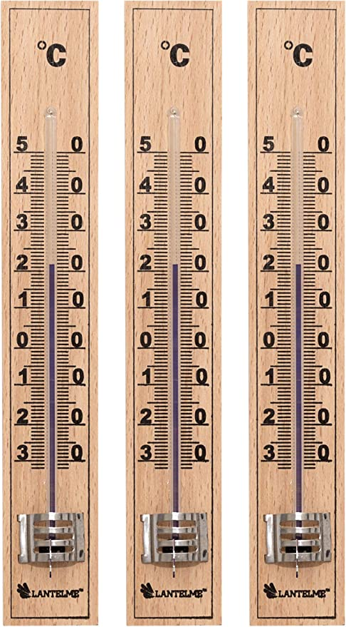 Lantelme - Juego de 3 termómetros de madera, analógicos, para exterior, jardín, interior, habitaciones, madera de haya, termómetro 7837: Amazon.es: Jardín