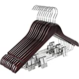 TOPIA HANGER Wooden Suit Hangers with Adjustable Metal Clips (10 Pack), Solid Wood Clothes Hangers, 360° Swivel Hook, Premium