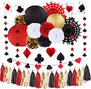 ELOPELY Casino Theme Party Decorations, Game Night Party Magic Birthday Party Decorations, Magic Banner for Las Vegas Theme Party Decor (Black, Red)