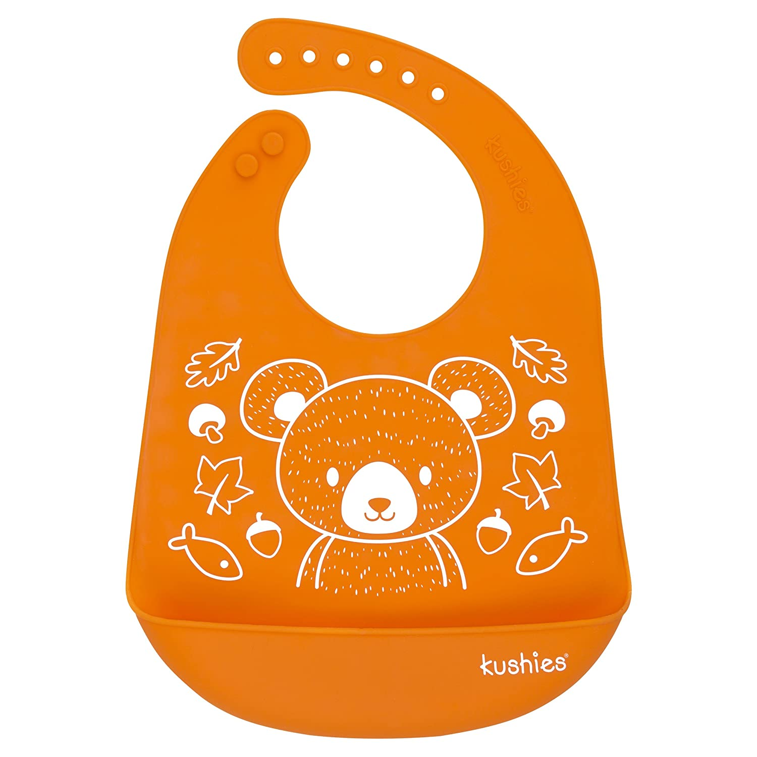 Kushies Silicatch Super Soft Silicone Waterproof Feeding Bib with Catch All/Crumb Catcher, Carrot Orange, 6m + Kushies Baby B306-N02
