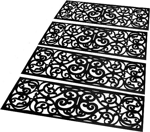 Conjunto de 4 peldaños de escalera de goma | Alfombrillas para interior y exterior | Juego de alfombrillas antideslizantes | Estera de diseño de hierro forjado | Alfombrillas Antideslizantes | M&W: Amazon.es: Hogar