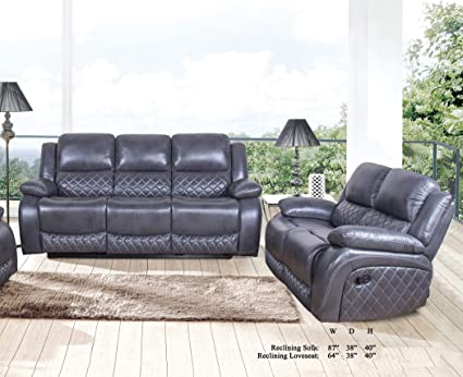 Swell Esofastore Living Room Beautiful Gray Leather Air Antique Look Recliner Sofa Loveseat 2Pc Sofa Set Comfort Plush Couch Pabps2019 Chair Design Images Pabps2019Com