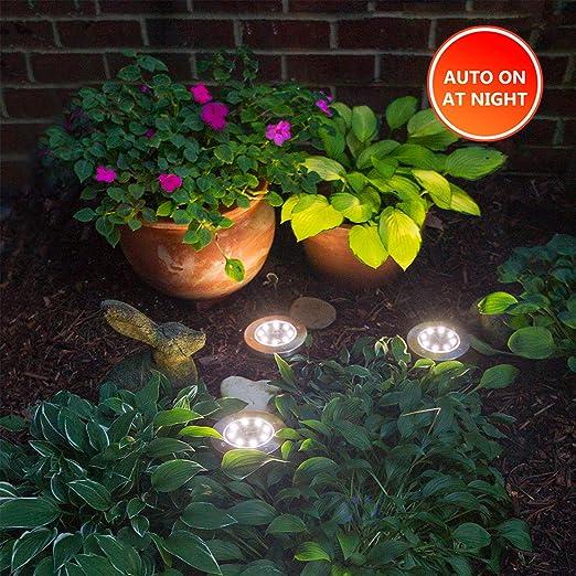 Yakalla - Luz Solar para el Suelo con 8 Luces LED para Exteriores, luz Solar para jardín, Impermeable, Brillante en el Suelo, Luces para Patio, Patio o Paseo, con 8 Luces LED: