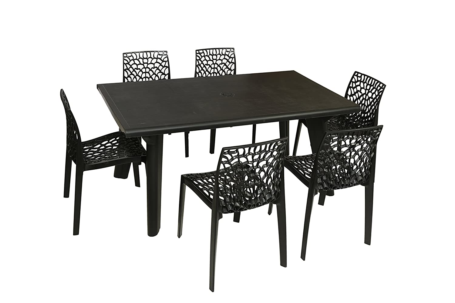 Supreme Bison Six Seater Dining Table Set Black Amazon In Home Kitchen