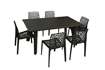 Supreme Bison Six Seater Dining Table Set (Black): Amazon.in: Home U0026 Kitchen