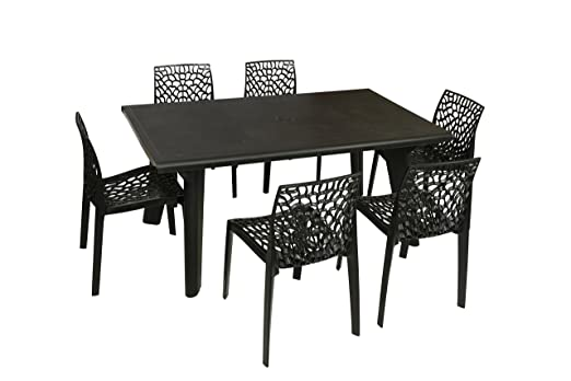 Supreme Bison Six Seater Dining Table Set Black Amazonin Home Kitchen