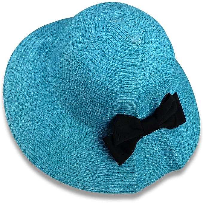 86e48222 Bleu Nero Luxury Summer Sun Hat for Women - Beach Straw Hat Wide Brim 50+  SPF ...