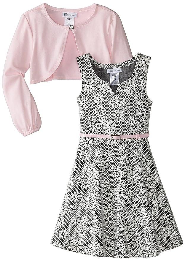 60s 70s Kids Costumes & Clothing Girls & Boys Bonnie Jean Girls Special Occasion Cardigan Dress Set $39.99 AT vintagedancer.com