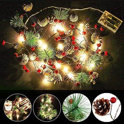 Amazon Com Aotosolo Hanging Pine Cones 20 Led Light String