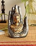 eCraftIndia Handcrafted Palm Buddha Polyresin Showpiece (12.5 cm x 7.5 cm x 17.5 cm, Silver and Golden)