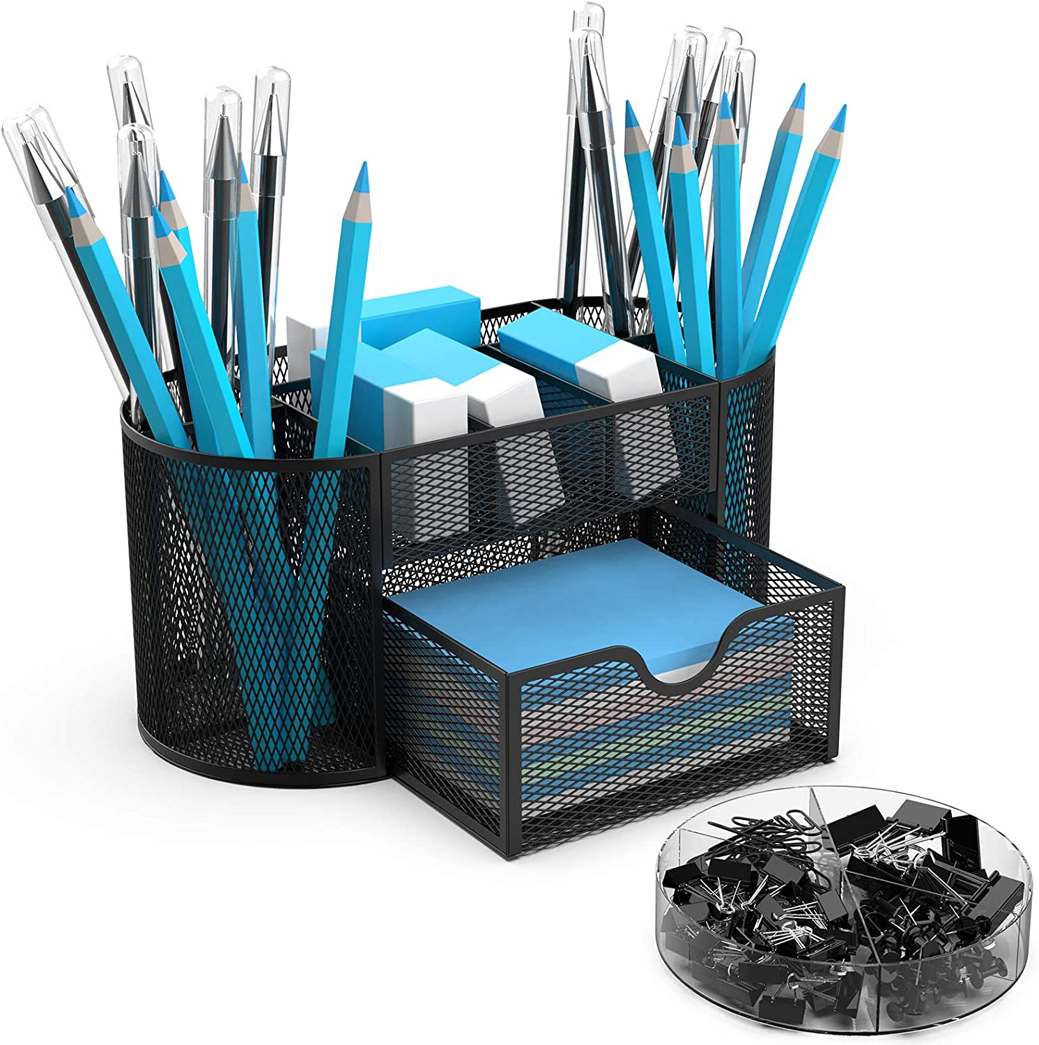 BYLaconic Office Desk Organizer Mesh, with 9 Compartments Multifunctional Desk Pen Holder Organizer with Accessories Clips Sets for Office/Classroom/Home - Black