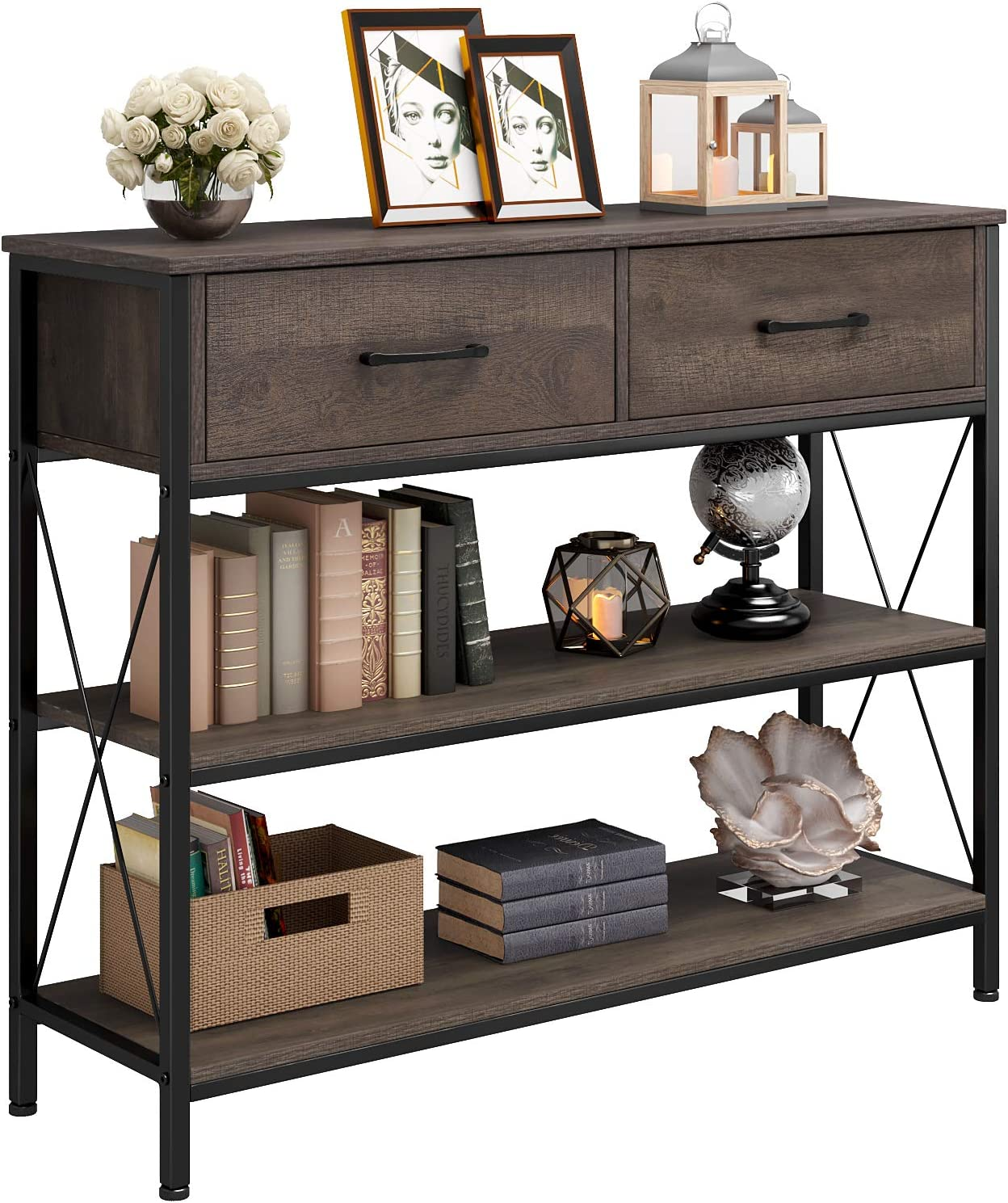HOMECHO Console Table with Drawers, Tall Entryway Table with Storage, Narrow Sofa Hallway Table for Bedroom Living Room, Metal Frame, Dark Brown
