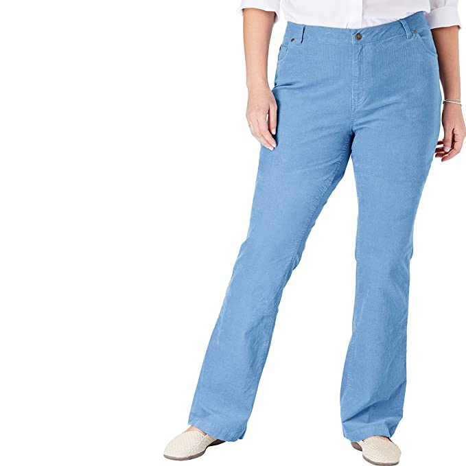 6cab78f3628 Woman Within Women s Plus Size Stretch Corduroy Bootcut Jean - Blue Cloud