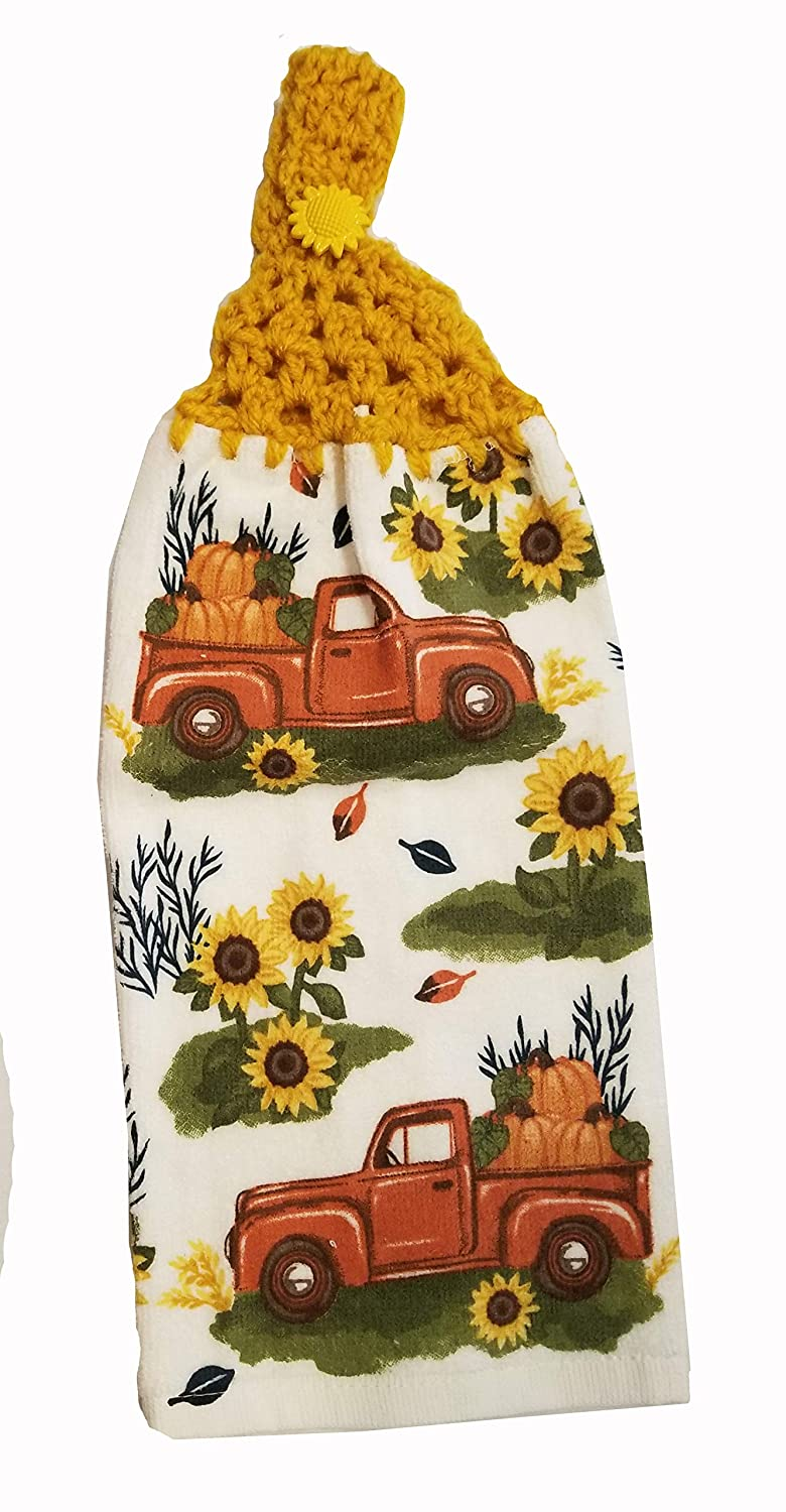 Handcrafted Gold Crochet Topped Sunflower Truck Kitchen Towel