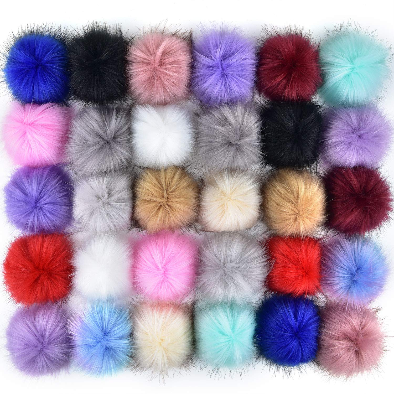 Coopay 30 Pieces Faux Fox Fur Pom Pom Balls DIY Fur Fluffy Pom Pom with Elastic Loop for Hats Keychains Scarves Gloves Bags Charms Knitting Accessories Popular Mix Colors