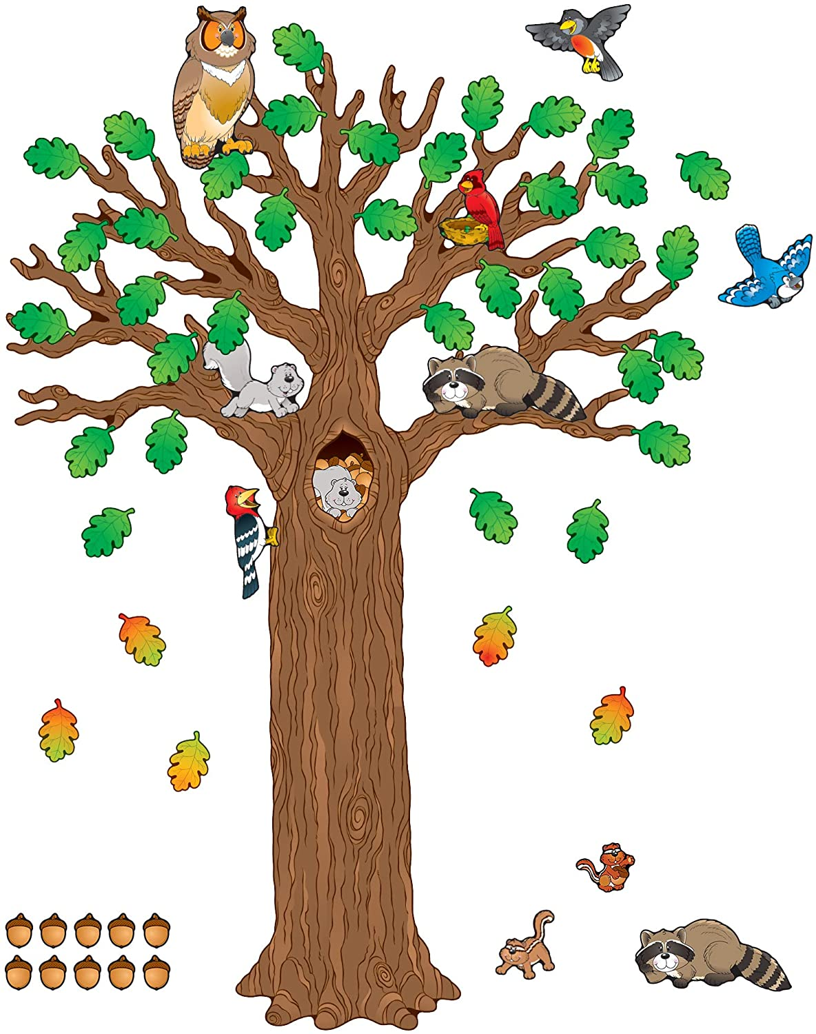 Amazon Com Carson Dellosa Woodland Bulletin Board Set Seasonal Tree Cutout With Forest Animals Autumn Leaves Acorns Elementary Classroom And Homeschool Decorations 120 Pc Themed Classroom Displays And Decoration Office Products
