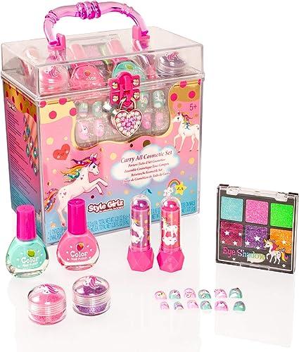 Style Girlz - Juego de cosméticos unicornio - kit de maquillaje para niñas - esmalte de uñas - sombra de ojos - bálsamo de labios - pegar en las uñas: Amazon.es: Belleza