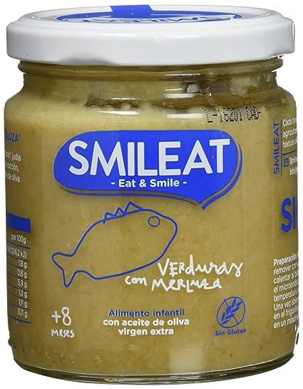 Smileat, Tarrito de pescado para bebé, (Verduras con merluza) - 230 gr