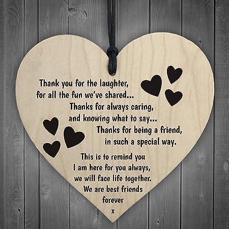 Red Ocean Best Friends Forever Wooden Hanging Heart Friendship Love Gift