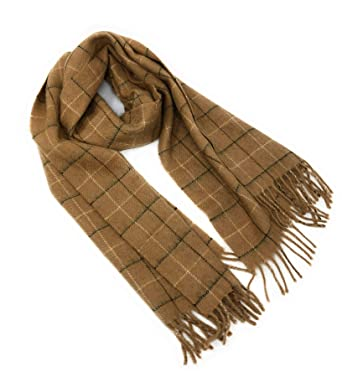 bc7f6bf0f Amazon.com: Gents Luxury Camel Hair Classic Tattersall Winter Scarf Made in  UK 1807/032: Clothing