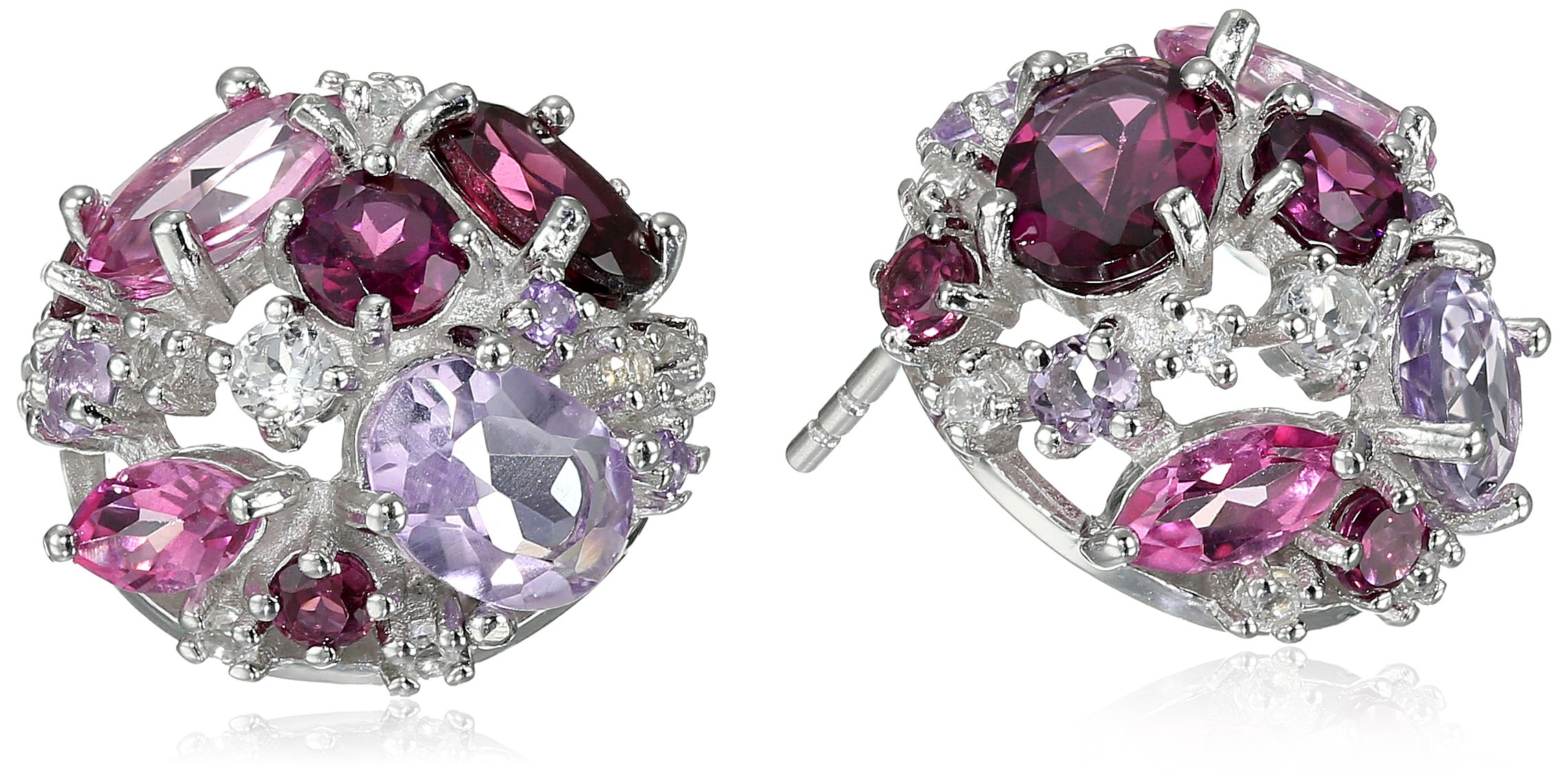 Kenneth Jay Lane Fine Jewelry Sterling Silver, Rhodolite, Pink and White Topaz and Pink Amethyst Orbital Button Ball Earrings