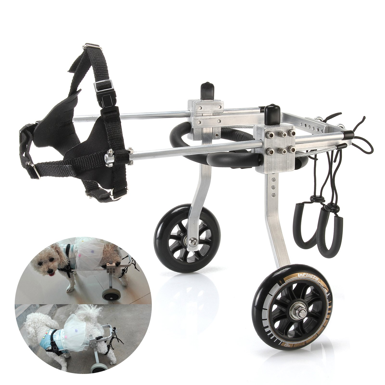Anmas Sport Adjustable Dog Pet Wheelchair, Hind Legs Rehabilitation (S-Size: 1.Hip Height: 7''-9'', Weight: 0-5lbs) by Anmas Sport