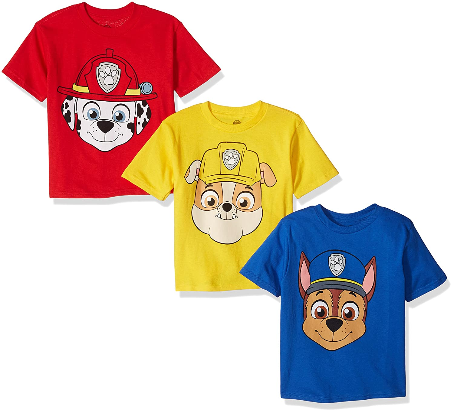 239288b85 Amazon.com: Paw Patrol Boys' Toddler Pack of Three T-Shirts,  Royal/Red/Yellow, 4T: Clothing