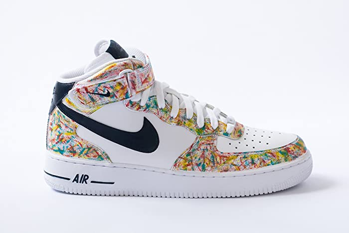 low priced 03db9 8ae26 Image Unavailable. Image not available for. Color  Mens Nike Air Force 1  White Mid Custom ...