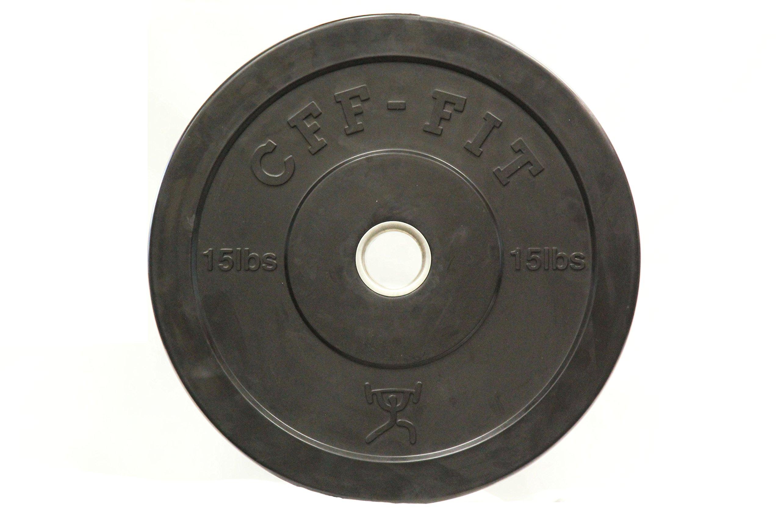 CFF Rubber Bumper Plates, Black, 15 lb