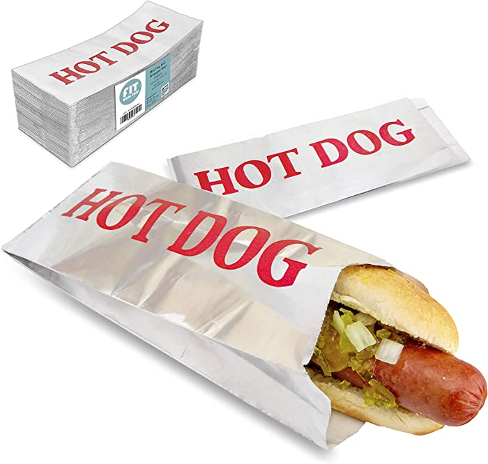 [250 Pack] Hot Dog Foil Wrapper Bags - 3.5x1.5x9.5 Inch Classic Printed Warming Wrap, Laminated Grease Resistant Sleeves for Party, Carnival Indoor Outdoor Fair Picnics, Concession Stand, Food Truck