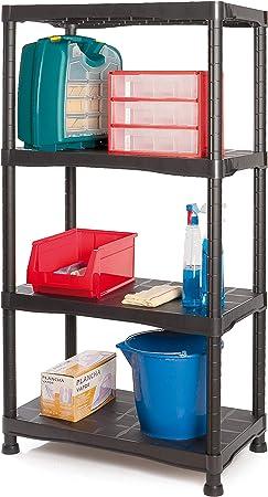 Tayg Kit estantería plástico 744, Negro, 700 x 400 x 1366 mm