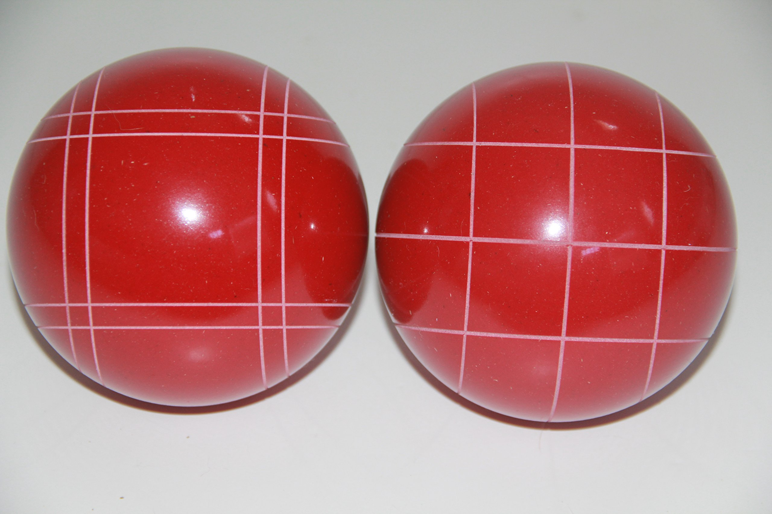 Replacement 2 Pack - EPCO Bocce Balls with Criss Cross and Close Curvey stripes - RUSTIC Red 110mm